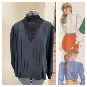 Vtg 80s Edwardian mourning blouse